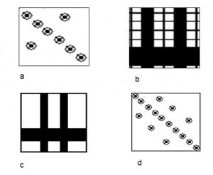 Figura 2. Esempi di item della prova di Riconoscimento seriale di configurazioni visive