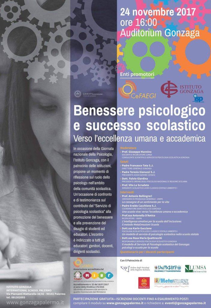 Conferenza sul Benessere psicologico e successo scolastico Istituto Gonzaga Palermo